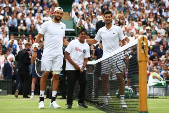 LONDON, ENGLAND - JULY 11: Matteo Berrettini of Italy and Novak Djokovic of Serbia pose for a picture prior to their men's Singles Final match on Day Thirteen of The Championships - Wimbledon 2021 at All England Lawn Tennis and Croquet Club on July 11, 2021 in London, England. (Photo by Julian Finney/Getty Images)