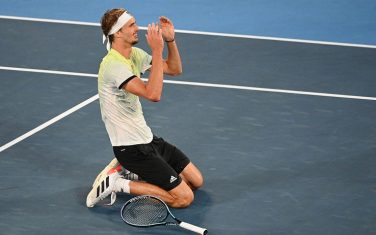 Germany's Alexander Zverev celebrates winning the Tokyo 2020 Olympic men's singles tennis final match against Russia's Karen Khachanov at the Ariake Tennis Park in Tokyo on August 1, 2021. (Photo by Vincenzo PINTO / AFP) (Photo by VINCENZO PINTO/AFP via Getty Images)