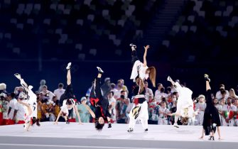 TOKYO, JAPAN - AUGUST 08: Dancers perform during the Closing Ceremony of the Tokyo 2020 Olympic Games at Olympic Stadium on August 08, 2021 in Tokyo, Japan. (Photo by David Ramos/Getty Images)