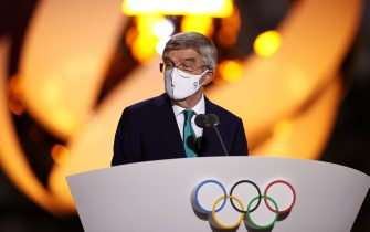 TOKYO, JAPAN - AUGUST 08: President of the International Olympic Committee, Thomas Bach speaks during the Closing Ceremony of the Tokyo 2020 Olympic Games at Olympic Stadium on August 08, 2021 in Tokyo, Japan. (Photo by Dan Mullan/Getty Images)