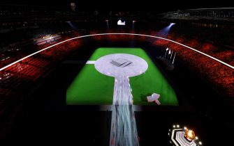 TOKYO, JAPAN - AUGUST 08: Flag bearers enter the stadium during the Closing Ceremony of the Tokyo 2020 Olympic Games at Olympic Stadium on August 08, 2021 in Tokyo, Japan. (Photo by Rob Carr/Getty Images)