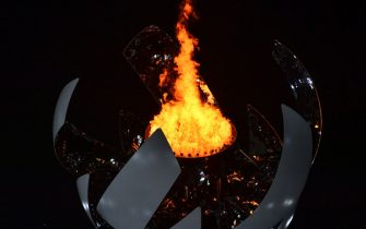The Olympic Cauldron lights up during the closing ceremony of the Tokyo 2020 Olympic Games, at the Olympic Stadium, in Tokyo, on August 8, 2021. (Photo by Antonin THUILLIER / AFP) (Photo by ANTONIN THUILLIER/AFP via Getty Images)