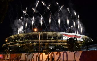 Fireworks go off around the Olympic Stadium during the closing ceremony of the Tokyo 2020 Olympic Games, as seen from outside the venue in Tokyo on August 8, 2021. (Photo by Kazuhiro NOGI / AFP) (Photo by KAZUHIRO NOGI/AFP via Getty Images)