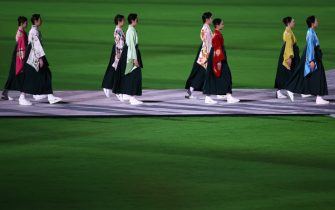 TOKYO, JAPAN - AUGUST 08: Members of the Takarazuka Revue are seen during the Closing Ceremony of the Tokyo 2020 Olympic Games at Olympic Stadium on August 08, 2021 in Tokyo, Japan. (Photo by David Ramos/Getty Images)
