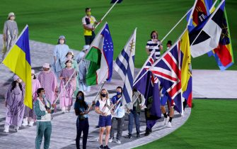 TOKYO, JAPAN - AUGUST 08: A view as the flag bearers of the competing nations enter the stadium during the Closing Ceremony of the Tokyo 2020 Olympic Games at Olympic Stadium on August 08, 2021 in Tokyo, Japan. (Photo by Leon Neal/Getty Images)