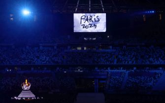 TOKYO, JAPAN - AUGUST 08: The presentation for Paris 2024 is seen during the Closing Ceremony of the Tokyo 2020 Olympic Games at Olympic Stadium on August 08, 2021 in Tokyo, Japan. (Photo by Leon Neal/Getty Images)