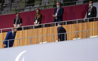 epa09427321 Andrew Parsons, president of the International Paralympic Committee bows to His Majesty Emperor Naruhito as they enter the Olympic Stadium at the start of the Paralympic Opening Ceremony. Tokyo 2020 Paralympic Games, Tokyo, Japan, 24 August 2021.  EPA/Joel Marklund for OIS HANDOUT  HANDOUT EDITORIAL USE ONLY/NO SALES