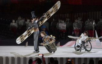 epa09427440 Artists perform during the opening ceremony of the Tokyo 2020 Paralympic Games in the Olympic Stadium in Tokyo, Japan, 24 August 2021.  EPA/Szilard Koszticsak HUNGARY OUT