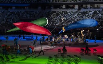 epa09427311 A general view during the opening ceremony during the opening ceremony of the 2020 Tokyo Summer Paralympics Games at the National Stadium in Tokyo, Japan, 24 August 2021.  EPA/ENNIO LEANZA