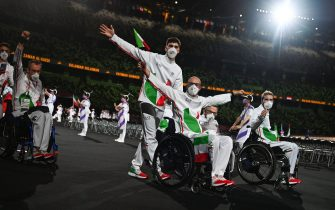 Italy's team arrives during the opening ceremony for the Tokyo 2020 Paralympic Games at the Olympic Stadium in Tokyo on August 24, 2021. (Photo by Philip FONG / AFP) (Photo by PHILIP FONG/AFP via Getty Images)