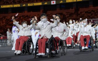 epa09427428 A handout photo made available by the Olympic Information Service (OIS) shows Japan Paralympic Team Athletes wave during the Parade of Athletes at the Opening Ceremony of the Tokyo 2020 Paralympic Games, in Tokyo, Japan, 24 August 2021.  EPA/Joel Marklund for OIS HANDOUT  HANDOUT EDITORIAL USE ONLY/NO SALES