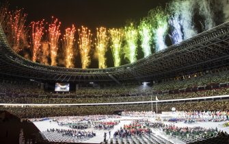 epa09427423 A general view during the opening ceremony during the opening ceremony of the 2020 Tokyo Summer Paralympics Games at the National Stadium in Tokyo, Japan, Tuesday, August 24, 2021. (KEYSTONE/Ennio Leanza).  EPA/ENNIO LEANZA HUNGARY OUT