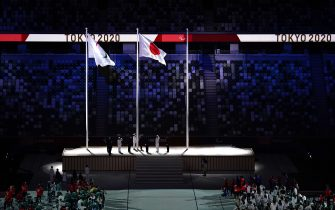 The Japanese flag is hoisted during the closing ceremony of the Tokyo 2020 Paralympic Games at Olympic Stadium in Japan. Picture date: Sunday September 5, 2021.