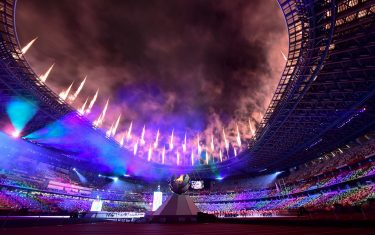 Fireworks light up the sky above the Olympic Stadium during the closing ceremony for the Tokyo 2020 Paralympic Games in Tokyo on September 5, 2021. (Photo by Philip FONG / AFP) (Photo by PHILIP FONG/AFP via Getty Images)