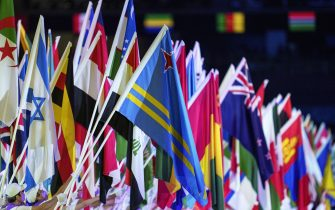 epa09449082 A handout photo made available by OIS/IOC shows detail of the nations flags at the end of the Entry of the nations flags parade at the Closing Ceremony of the Tokyo 2020 Paralympic Games, Tokyo, Japan, Sunday 05 September 2021.  EPA/Thomas Lovelock for OIS HANDOUT   EDITORIAL USE ONLY/NO SALES