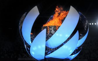 epa09448888 A handout photo made available by OIS/IOC shows the Paralympic flame inside the Paralympic Cauldron designed by Oki Sato, at the start of the Closing Ceremony of the Tokyo 2020 Paralympic Games, Tokyo, Japan, 05 September 2021.  EPA/Thomas Lovelock for OIS HANDOUT   EDITORIAL USE ONLY/NO SALES