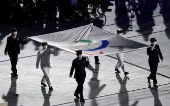 The Paralympic flag is lowered during the closing ceremony of the Tokyo 2020 Paralympic Games at Olympic Stadium in Japan. Picture date: Sunday September 5, 2021.