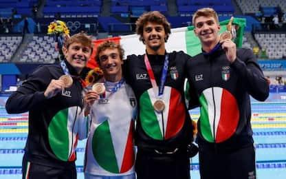 Nuoto, storico bronzo della 4x100 mista azzurra