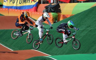 epa05499602 (L-R) Jelle van Gorkom of Netherlands, Luis Brethauer of Germany, and Nicholas Long of USA compete during a men's BMX Cycling Semi final competition of the Rio 2016 Olympic Games at the Olympic BMX Centre in Rio de Janeiro, Brazil, 19 August 2016.  EPA/FAZRY ISMAIL