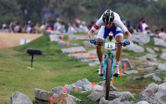 epa05505339 Ondrej Conk of Czech Republic competes during the men's Cross Country race of the Rio 2016 Olympic Games Mountain Bike Cycling events at the Mountain Bike Centre in Rio de Janeiro, Brazil, 21 August 2016.  EPA/ARMANDO BABANI