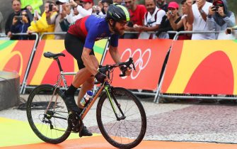 epa05470430 Dan Craven of Namibia at the start of the men's Individual Time Trial of the Rio 2016 Olympic Games Road Cycling events at Pontal in Rio de Janeiro, Brazil, 10 August 2016.  EPA/ALEJANDRO ERNESTO