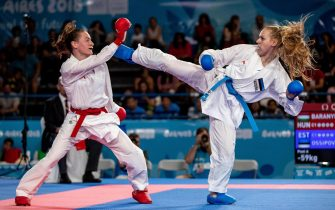 epa07100564 Zsofia Baranyi of Hungary and Marta Ossipova of Estonia compete in the Elimination Round Pool A match int he Karate Womens -59kg in the Europa Pavilion, Youth Olympic Park during The Youth Olympic Games, Buenos Aires, Argentina, 17 October 2018.  EPA/Ian Walton for OIS/IOC HANDOUT  HANDOUT EDITORIAL USE ONLY