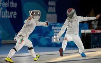 epa07083915 Yoana Ilieva of Bulgaria (L), member of Team Europe 3, competes against Liza Pusztai of Hungary, member of Team Europe 1, in the Fencing Mixed Continental Team Semi-final 1 in the Africa Pavilion, Youth Olympic Park during The Youth Olympic Games, Buenos Aires, Argentina, 10 October 2018.  EPA/Ian Walton for OIS/IOC HANDOUT  HANDOUT EDITORIAL USE ONLY