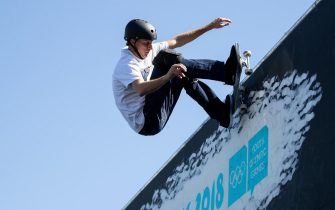 epa07077829 A handout photo made available by the OIS/IOC of Tony Hawk skates on the BMX Freestyle Course as part of a skateboard exhibition in the Urban Park at the Youth Olympic Games, Buenos Aires, Argentina, 07 October 2018.  EPA/OIS/IOC/ SIMON BRUTY HANDOUT  HANDOUT EDITORIAL USE ONLY/NO SALES