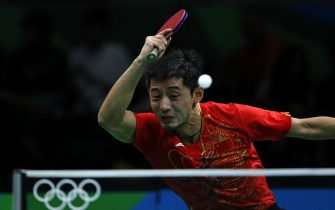 (160808) -- RIO DE JANEIRO, Aug. 8, 2016 (Xinhua) -- Zhang Jike of China competes during the men's single round 3 of table tennis against Chen Chien-An of Chinese Taipei at the 2016 Rio Olympic Games in Rio de Janeiro, Brazil, on Aug. 8, 2016. Zhang Jike won with 4:0. (Xinhua/Shen Bohan)(dh)//CHINENOUVELLE_1037.0083/Credit:CHINE NOUVELLE/SIPA/1608091149