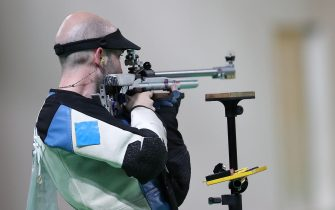 (160814) -- RIO DE JANEIRO, Aug. 14, 2016 (Xinhua) -- Italy's Niccolo Campriani competes during the men's 50m rifle three positions final of Shooting at the 2016 Rio Olympic Games in Rio de Janeiro, Brazil, on Aug. 14, 2016. Niccolo Campriani won the gold medal.  (Xinhua/Cao Can) (xr)//CHINENOUVELLE_1732.0252/Credit:Chine Nouvelle/SIPA/1608151245