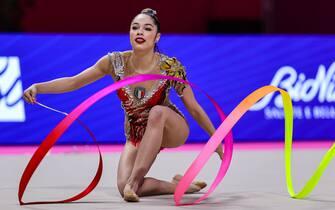 Agiurgiuculese Alexandra (ITA) during the Rhythmic Gymnastics FIG World Cup 2021 Pesaro at Vitrifrigo Arena, Pesaro, Italy on May 29, 2021 - Photo FCI / Fabrizio Carabelli