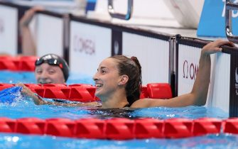 TOKYO, JAPAN - AUGUST 31: Giulia Terzi of Team Italy celebrates after winning gold in the Womenâ  s 100m Freestyle - S7 Final on day 7 of the Tokyo 2020 Paralympic Games at Tokyo Aquatics Centre on August 31, 2021 in Tokyo, Japan. Her timing of 1:09.21 is a new Paralympic record. (Photo by Carmen Mandato/Getty Images)