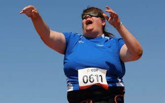 LYON, FRANCE - JULY 24:  Assunta Legnante of Italy  throws in the Women's Shot Put F11 final during day five of the IPC Athletics World Championships on July 24, 2013 in Lyon, France.  (Photo by Julian Finney/Getty Images)