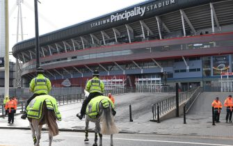 CARDIFF, WALES - MARCH 14: Police Horses are pictured outside a quiet Principality Stadium after the 2020 Guinness Six Nations match between Wales and Scotland at Principality Stadium was cancelled the day before due to Coronavirus (Covid-19) on March 14, 2020 in Cardiff, Wales. (Photo by Stu Forster/Getty Images)