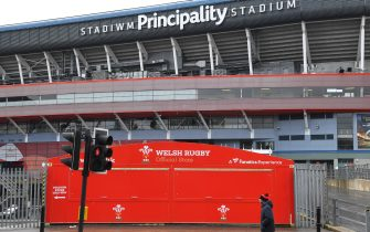 CARDIFF, WALES - MARCH 14: The closed merchandise shop is pictured outside a quiet Principality Stadium after the 2020 Guinness Six Nations match between Wales and Scotland at Principality Stadium was cancelled the day before due to Coronavirus (Covid-19) on March 14, 2020 in Cardiff, Wales. (Photo by Stu Forster/Getty Images)