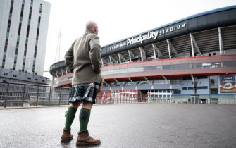 CARDIFF, UNITED KINGDOM - MARCH 14: A Scottish rugby fan looks on at the Principality Stadium on March 14, 2020 in Cardiff, Wales. The Six Nations fixture in Cardiff between Wales and Scotland at the Principality Stadium was postponed 24 hours before kick-off due to concerns about the spread of the coronavirus. (Photo by Matthew Horwood/Getty Images)
