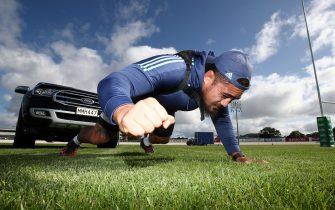 AUCKLAND, NEW ZEALAND - MAY 07: All Black and Blues prop Ofa Tu'ungafasi pulls his SUV in a harness as he uses it in place of a scrum machine while he trains in isolation at the Blues HQ at Alexandra Park due to the coronavirus lockdown on May 07, 2020 in Auckland, New Zealand. New Zealand has been in lockdown since Thursday 26 March following tough restrictions imposed by the government to stop the spread of COVID-19 across the country.  (Photo by Phil Walter/Getty Images)