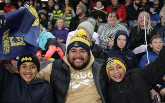 Fans attend the Super Rugby match between the Otago Highlanders and Waikato Chiefs at Forsyth Barr Stadium in Dunedin on June 13, 2020. (Photo by Marty MELVILLE / AFP) (Photo by MARTY MELVILLE/AFP via Getty Images)