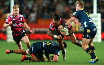 DUNEDIN, NEW ZEALAND - JUNE 13: Sean Wainui of the Chiefs is tackled during the round 1 Super Rugby Aotearoa match between the Highlanders and Chiefs at Forsyth Barr Stadium on June 13, 2020 in Dunedin, New Zealand. (Photo by Teaukura Moetaua/Getty Images)
