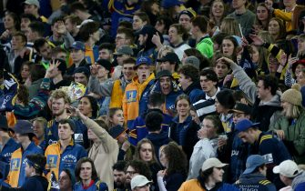 DUNEDIN, NEW ZEALAND - JUNE 13: Highlanders fans during the round 1 Super Rugby Aotearoa match between the Highlanders and Chiefs at Forsyth Barr Stadium on June 13, 2020 in Dunedin, New Zealand. (Photo by Dianne Manson/Getty Images)