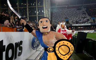 DUNEDIN, NEW ZEALAND - JUNE 13: The Highlanders mascot during the round 1 Super Rugby Aotearoa match between the Highlanders and Chiefs at Forsyth Barr Stadium on June 13, 2020 in Dunedin, New Zealand. (Photo by Dianne Manson/Getty Images)