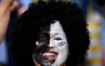 BRISBANE, AUSTRALIA - NOVEMBER 07: An All Blacks fan shows her colours during the 2020 Tri-Nations match between the Australian Wallabies and the New Zealand All Blacks at Suncorp Stadium on November 07, 2020 in Brisbane, Australia. (Photo by Bradley Kanaris/Getty Images)