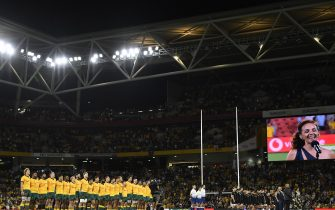 BRISBANE, AUSTRALIA - NOVEMBER 07: The teams line up for the national anthems during the 2020 Tri-Nations match between the Australian Wallabies and the New Zealand All Blacks at Suncorp Stadium on November 07, 2020 in Brisbane, Australia. (Photo by Albert Perez/Getty Images)