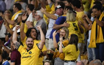 BRISBANE, AUSTRALIA - NOVEMBER 07: Wallabies fans celebrate during the 2020 Tri-Nations match between the Australian Wallabies and the New Zealand All Blacks at Suncorp Stadium on November 07, 2020 in Brisbane, Australia. (Photo by Albert Perez/Getty Images)