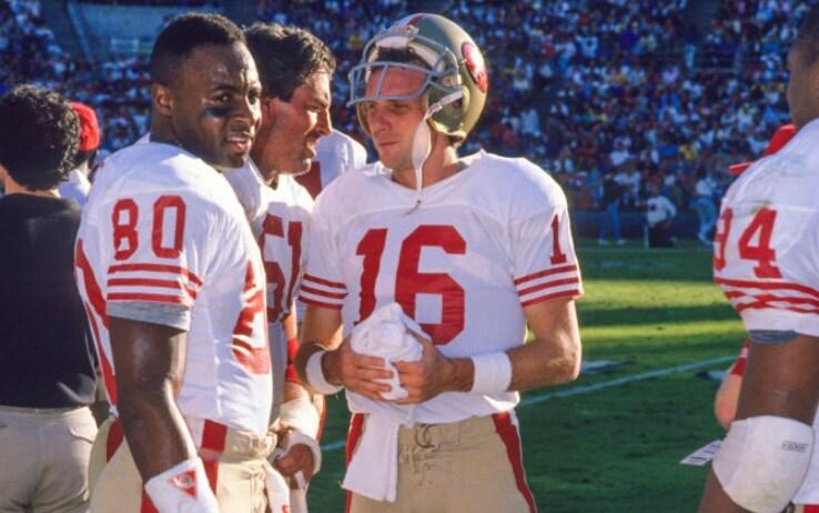 Joe Montana (a destra) e Jerry Rice