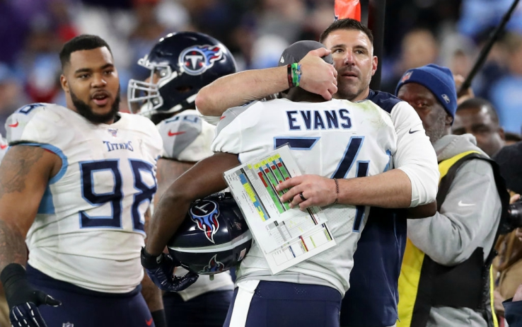 Coach Vrabel esulta con la sua panchina a Baltimore