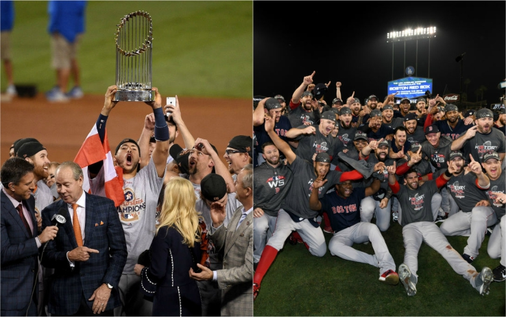 World Series, le vittorie di Houston (2017, sinistra) e Boston (2018, destra)