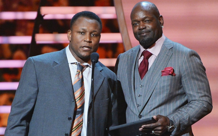 Barry Sanders ed Emmitt Smith agli NFL Honor del 2014 alla Radio City Music Hall