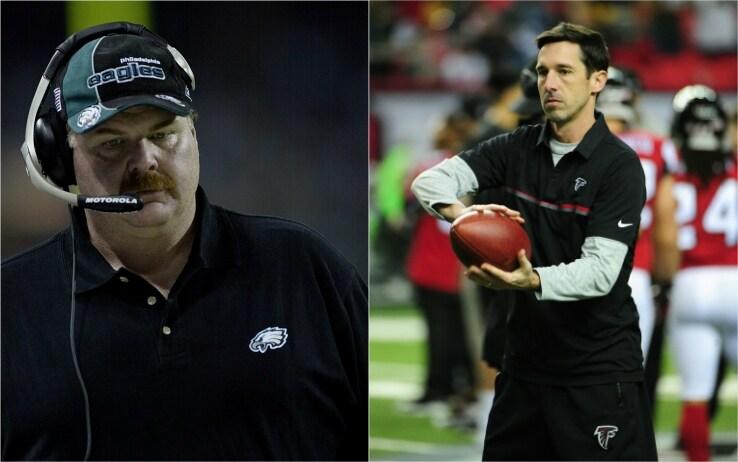 Andy Reid e Kyle Shanahan ai tempi delle loro precedenti esperienze al Super Bowl