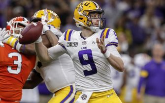 NEW ORLEANS, LA - JANUARY 13: Quarterback Joe Burrow #9 of the LSU Tigers on a pass play during the College Football Playoff National Championship game against the Clemson Tigers at the Mercedes-Benz Superdome on January 13, 2020 in New Orleans, Louisiana. LSU defeated Clemson 42 to 25. (Photo by Don Juan Moore/Getty Images)